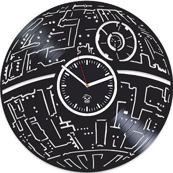 Kovides Star Wars Vinyl Record Clock, The Force Awakens, Best Gift for Boyfriend, Vinyl Wall Clock, for Boy, Comics Marvel, DC Movie, Silent Mechanism, Wall Art Sticker