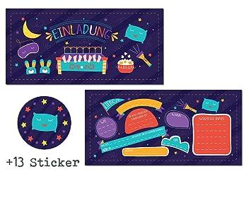 12 Einladungskarten Ubernachtungsparty 13 Sticker Gratis Madchen