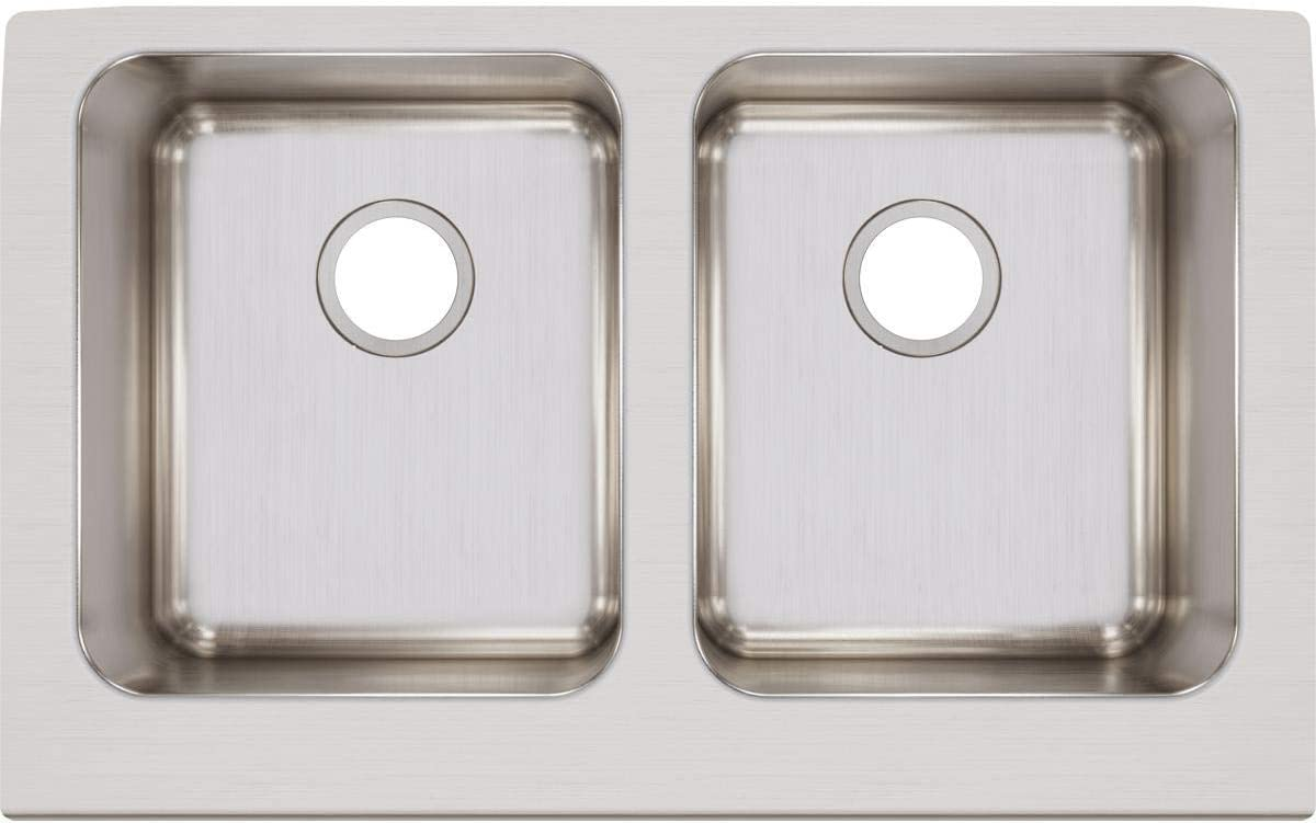 Elkay ELUHF3320 Lustertone Classic Equal Double Bowl Farmhouse Stainless Steel Sink