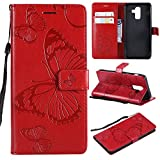 Torubia Samsung Galaxy J8 Wallet Case, Stylish Slim PU Leather Girls Stand and Card Holders Wallet Phone Cover Skins Protective Case for Samsung Galaxy J8 -Red