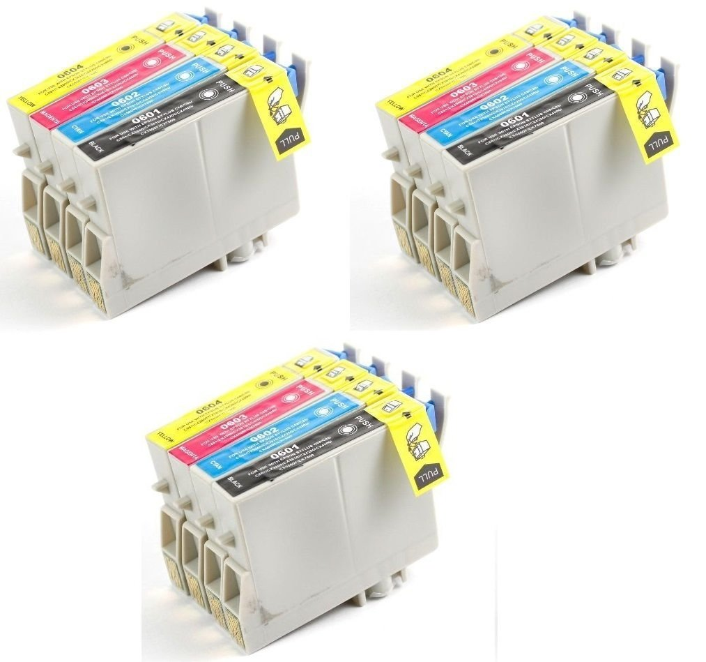 12 Pack Remanufactured Inkjet Cartridges for Epson T060 #60 T060120 T060220 T060320 T060420 Compatible With Stylus C68, C88, C88Plus, CX3800, CX3810, CX4200, CX4800, CX5800F, CX7800