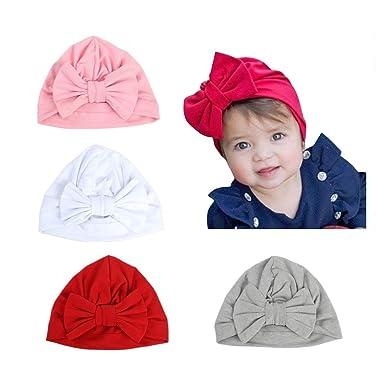 1bc4c70727e69 CANSHOW 4pcs Bandeau Cheveux bébé Fille Coton Doux Bonnet Bebe Fille ...