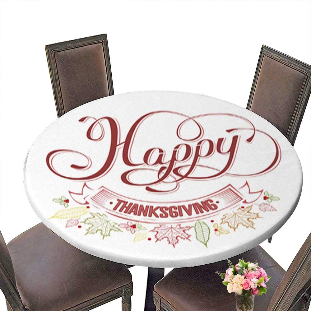 Polyester Fabric Round Tablecloth,Happy Thanksgiving Suitable for Home use up to 31.5''-33.5'' Diameter