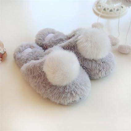 mhgao Ladies Home Otoño/Invierno Ocio Algodón Zapatillas sintética piel de conejo bola caliente Zapatillas, gris, small
