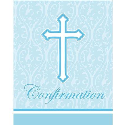 amazon com faith blue holy confirmation invitations 8 per pack
