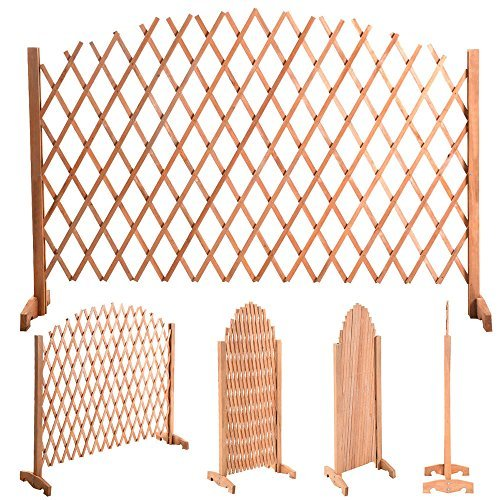 YOUZEE Expanding Portable Fence Wooden Screen Dog Gate Pet Safety Kid Patio Garden Lawn (Patio Gates Fences)