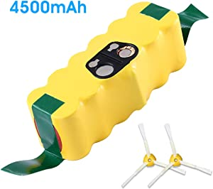 4.5Ah 14.4V Replacement for iRobot Roomba Battery Ni-Mh R3 500 600 700 800 900 Series 500 510 530 531 532 535 536 540 550 552 560 570 580 595 600 620 650 660 700 760 770 780 790 870 880 980 with brush