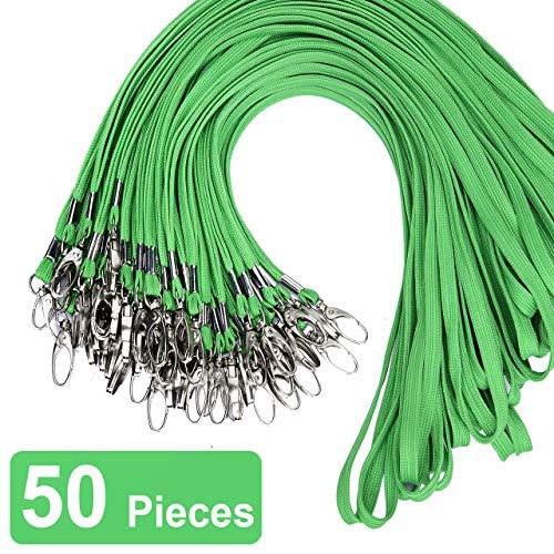 50 Pack Green Bulk Cotton Lanyard with Bulldog Clip 32-inch Neck Name tag Id Badges lanyards (Green)