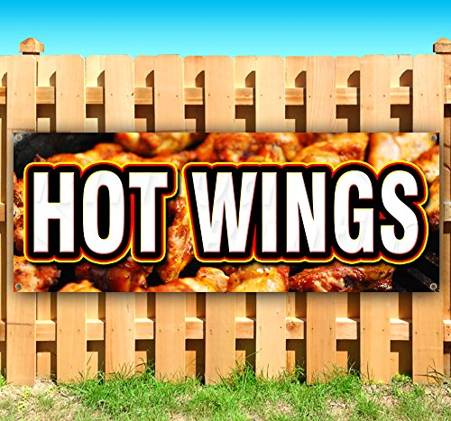 Larger Scale Wings (HOT WINGS 13 oz heavy duty vinyl banner sign with metal grommets, new, store, advertising, flag, (many sizes available))