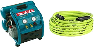 Makita MAC2400 Big Bore 2.5 HP Air Compressor & Flexzilla Air Hose, 3/8 in. x 50 ft, 1/4 in. MNPT Fittings, Heavy Duty, Lightweight, Hybrid, ZillaGreen - HFZ3850YW2