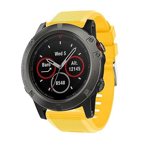 squarex - Correa de repuesto para reloj GPS Garmin Fenix 5X, color amarillo