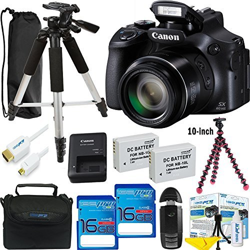 Canon PowerShot SX60 HS 16.1MP Digital Camera with 65x Optical Zoom and Built-in WiFi/ NFC + Expo Advanced Accessories Bundle