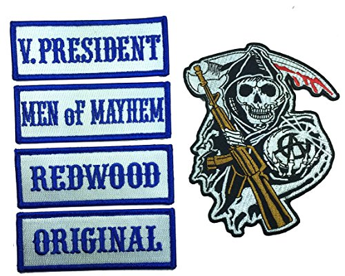 [Patch Squad Men's Outlaw Front of Vest Officer Rank 4 Pc with Grim Reaper Patch] (Samcro Costume Vest)