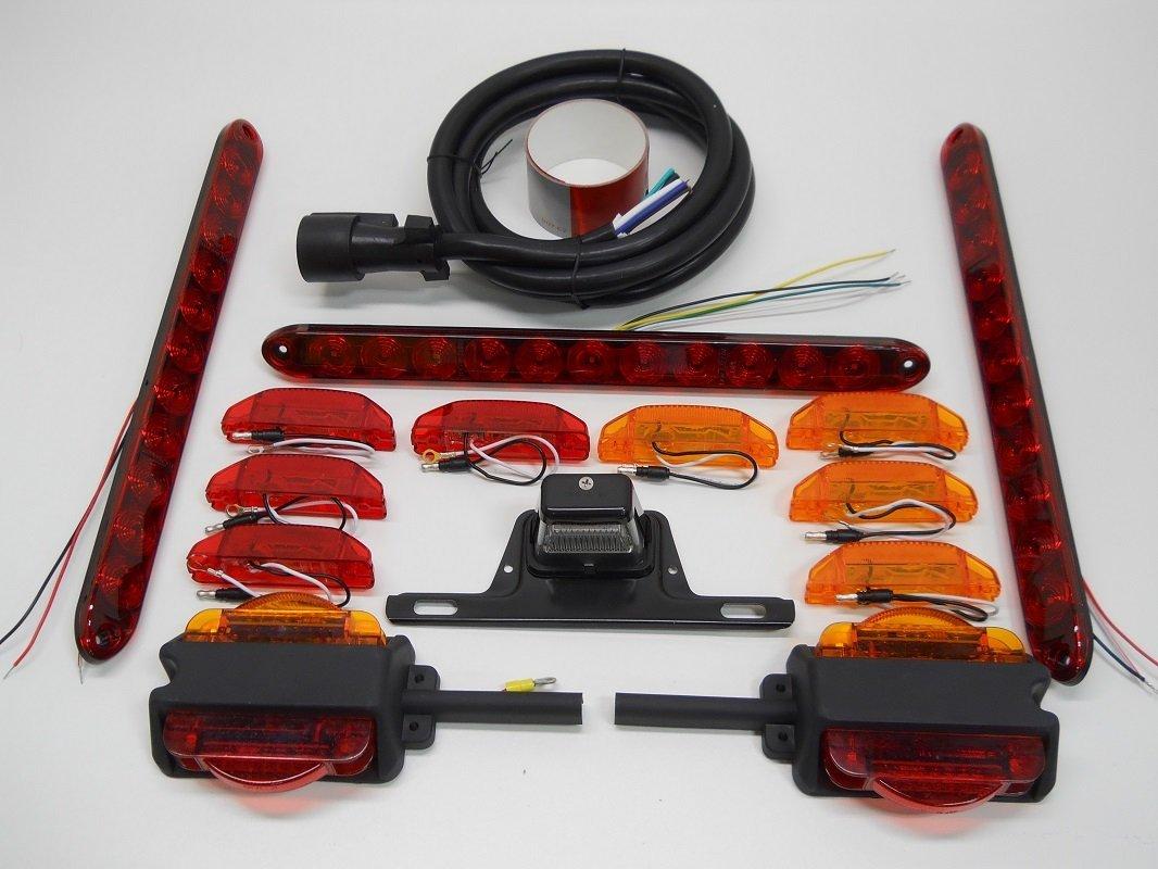 LED Over 80' Trailer Marker Brake Turn Tail Light Kit / Wiring / License Light Closertowholesale
