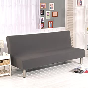 ELEOPTION Armless Sofa Covers Stretch Fabric Sofa Slipcovers Folding Sofa Bed for Living Room Moving Furniture Protector Couch Futon Cover (Grey)
