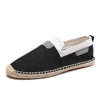Amantes Zapatos Unisex Lino Verano Alpargatas Planos Con cordones Para Casual Negro Beige Gris GLSHI (