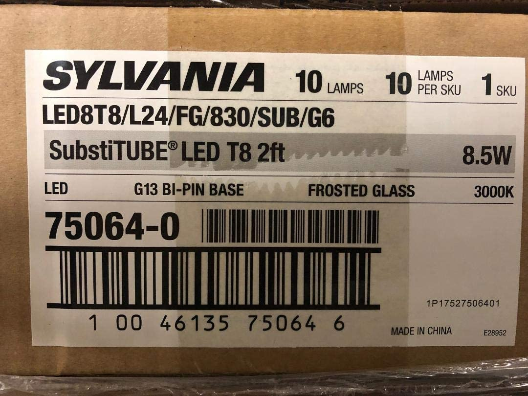 10 Pack 10 Pieces Sylvania 75064 LED8T8L24FG830SUBG6 Plug n Play Ballast Needed 2 Foot LED Straight T8 Tube Light Bulb for Replacing Fluorescents