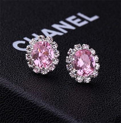 0cf8b25f07b Creative Stylish Oval Diamond Earrings Multicolor Flash Diamond Zircon  Earrings,Pink