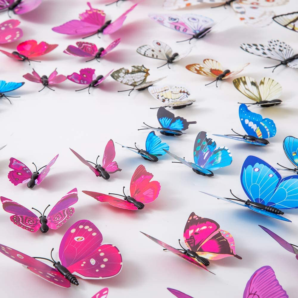 36PCS Butterfly Wall Decals - 3D Butterflies Decor for Wall Sticker Removable Mural Stickers Home Decoration Kids Room Bedroom Decor (Purple+White+Blue)