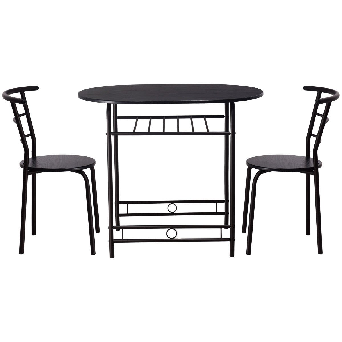Giantex 3 PCS Dining Table Set w/1 Table and 2 Chairs Home Restaurant Breakfast Bistro Pub Kitchen Dining Room Furniture (Black) by Giantex (Image #6)