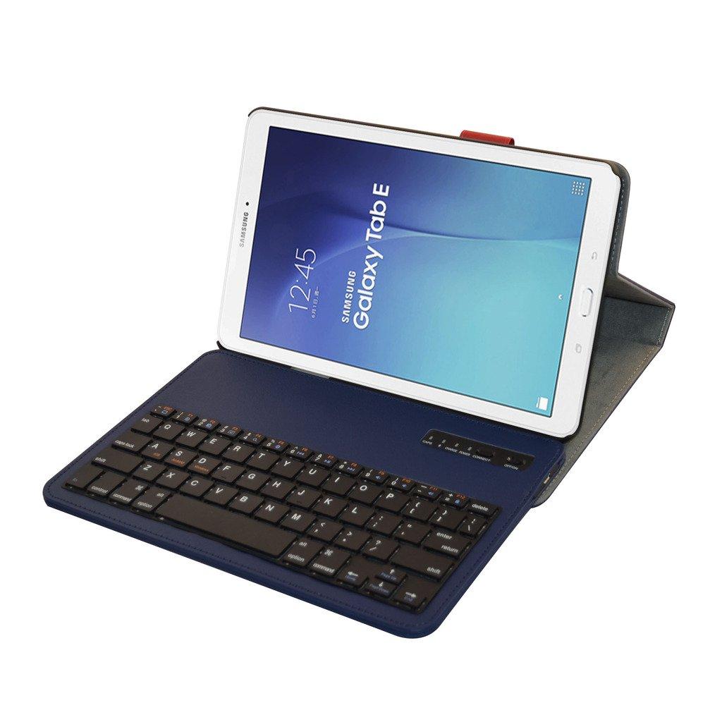 Samsung Galaxy Tab E 9.6 Bluetooth teclado Funda,Mama Mouth DETACHABLE Bluetooth teclado teclado (teclado QWERTY formato inglés) PU Cuero Con Soporte Funda ...