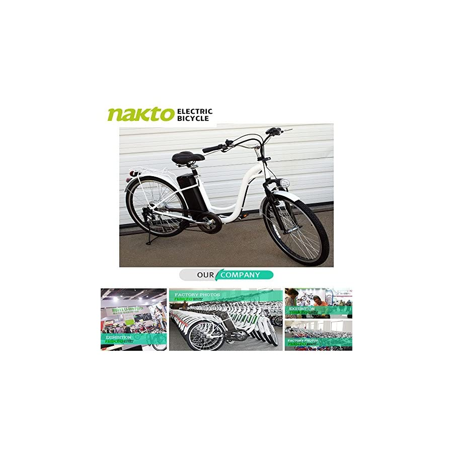 "NAKTO 26"" 250W Electric Bicycle Sporting Shimano 6 Speed Gear EBike Brushless Gear Motor Removable Waterproof Large Capacity 36V10A Lithium Battery Battery Charger Class AAA"