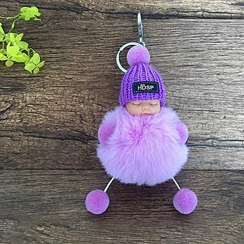 (Emily Christmas Sleeping Baby Keychain Cute Sleeping Baby Keychain Bag/Car Pendant Citron)