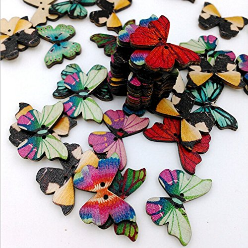50pcs Mixed Butterfly Phantom Wooden Sewing Buttons Scrapbooking Decor 2 Holes