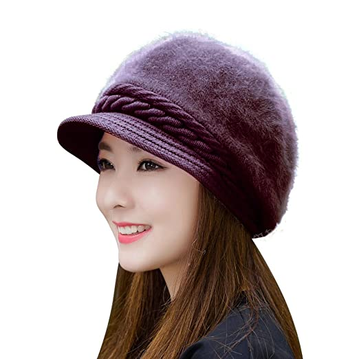 HINDAWI Women Girls Fluffy Knit Hat Crochet Winter Warm Snow Cap with Visor Purple
