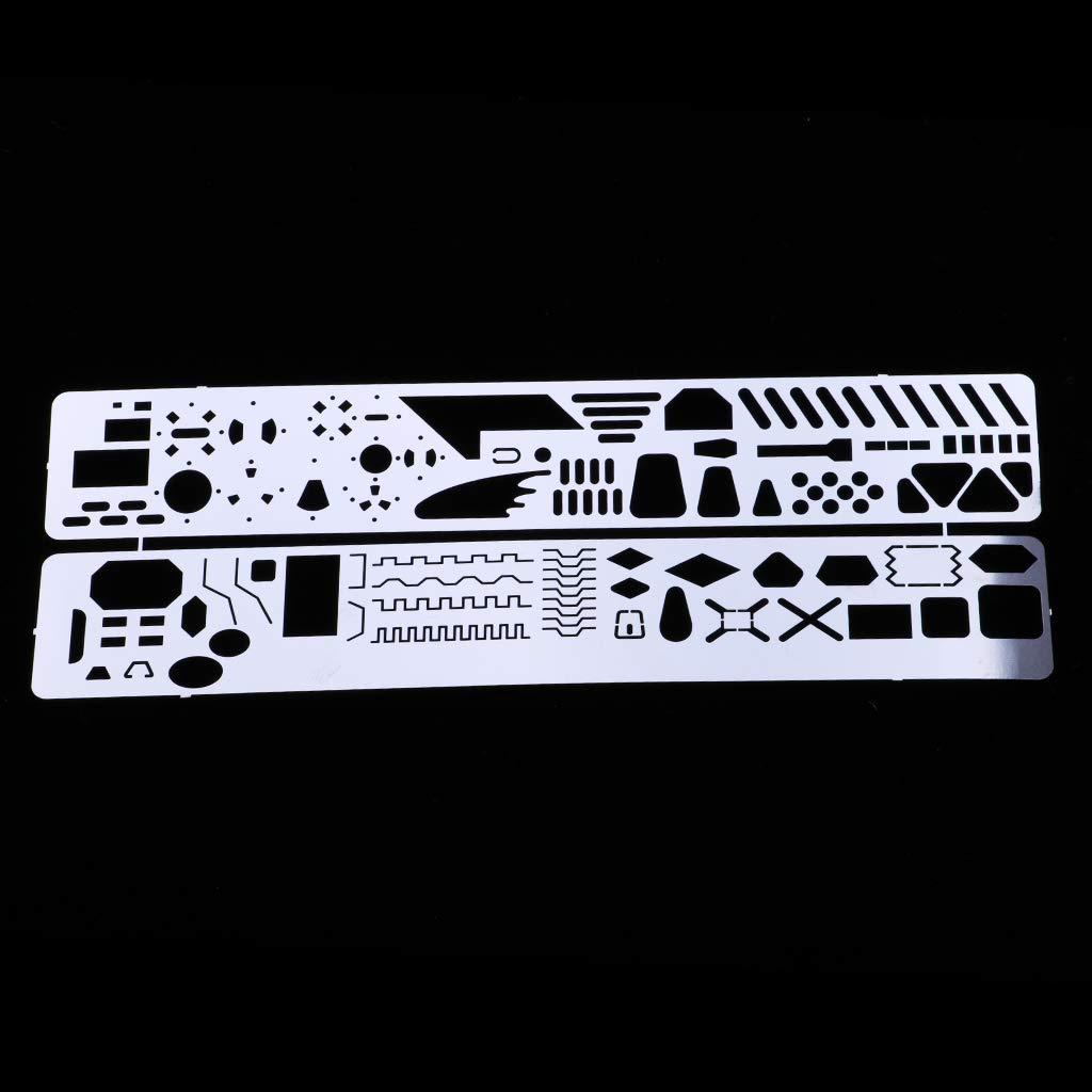 Hellery 2pcs Photo Etched Tool Scribing Panel Modelo Plantilla Grabado Formando Bloque