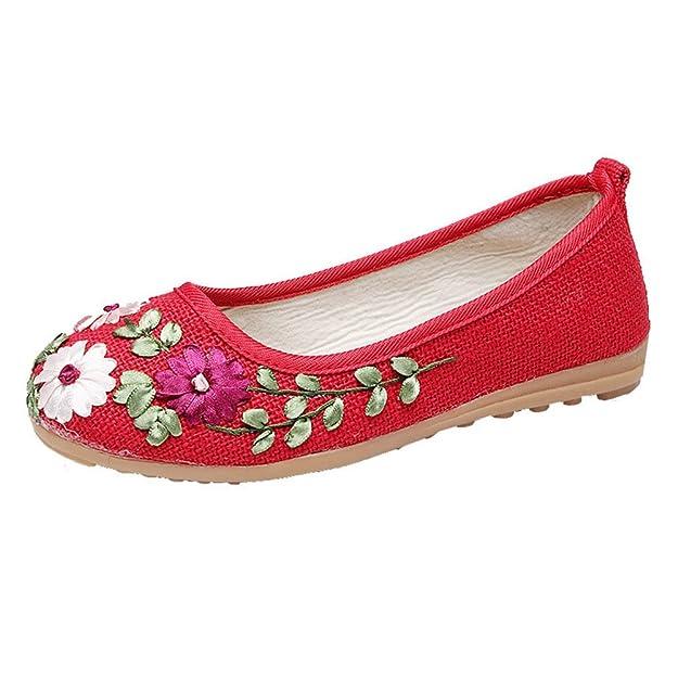 MISSMAO Damen Original Espadrilles Slipper Flats Ballerinas Slip-on Segeltuchschuhe
