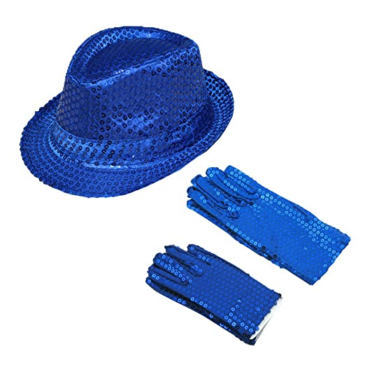 9c833ced45a7d Amazon.com  ZTL Sparkly Sequin Fedora Hat   Gloves Costume Accessories Set  for Adults   Kids  Clothing