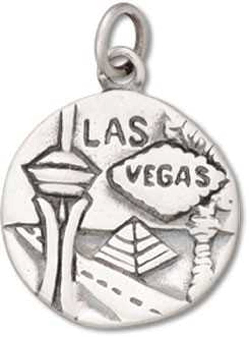 Sterling Silver Girls .8mm Box Chain Round Two Sided Las Vegas Silver City Pendant Necklace