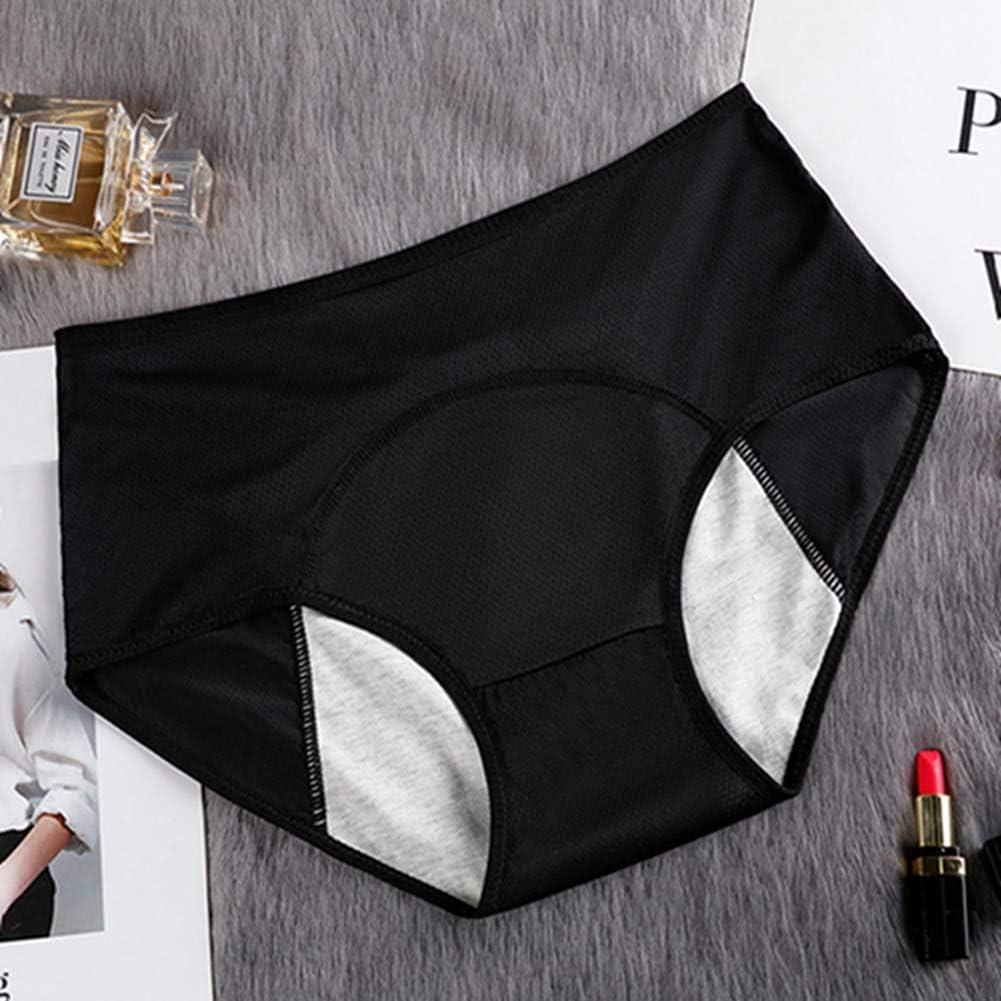Egurs 3 bragas de cintura alta para mujer, a prueba de fugas, de algodón, cómodas, transpirables, evitan fugas laterales.