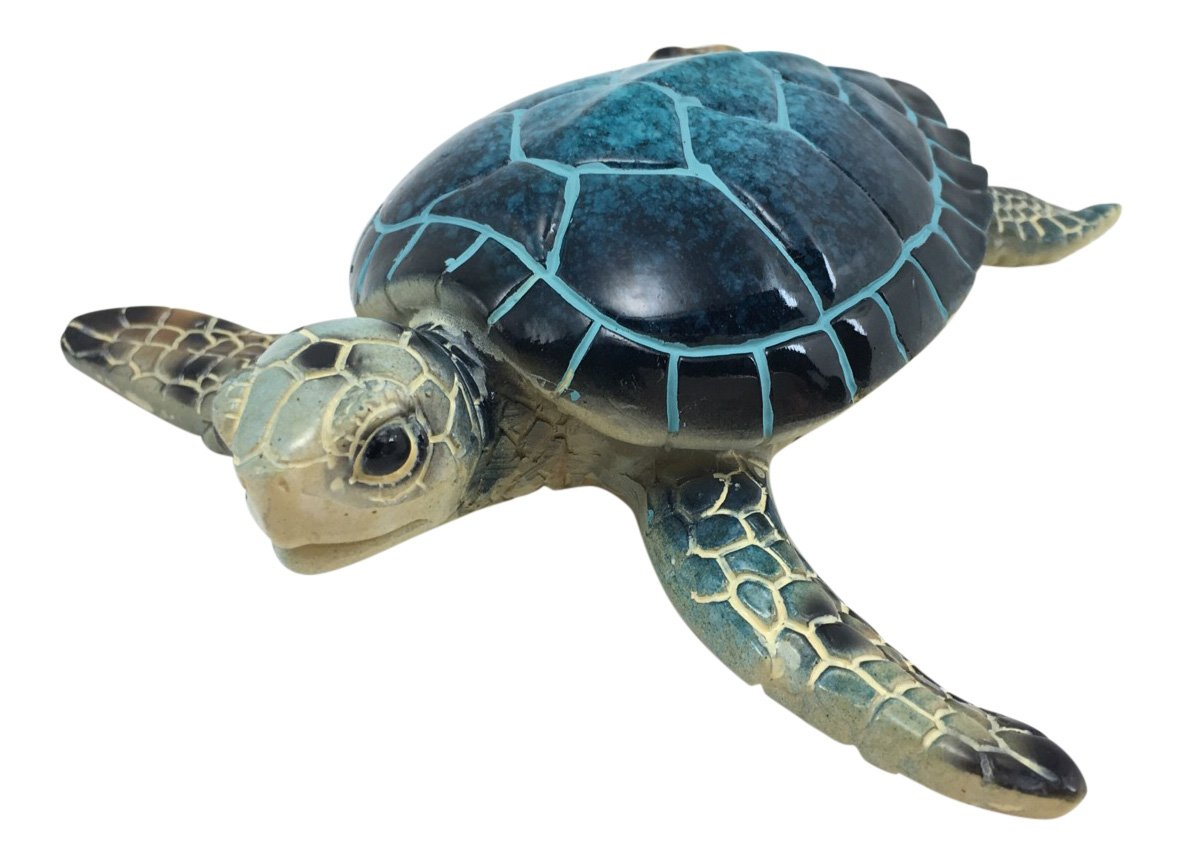 Green Tree Blue Sea Turtle Resin Figurine, Indoor Outdoor Decor, 5.25 Inches Wide