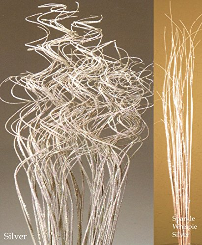 Green Floral Crafts 2.5 Ft Extra Tall Sparkle SILVER Curly Ting, Pk of Approx. 50 Stems