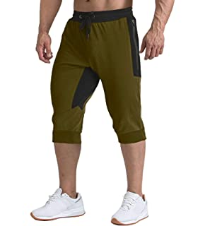 Boladeci Mens Jogger Shorts Casual 3//4 Capri Pants with Pockets for Workout Gym Running