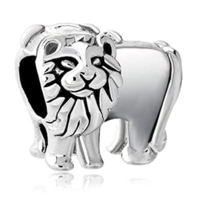 1750ce857 Image Unavailable. Image not available for. Color: JewelryHouse Silver  Plated Animal Charms King Lion Bead Charms fit Bracelets