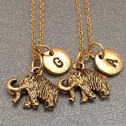 Best friend necklace, mammoth necklace, animal necklace, bff necklace, sister, friendship, personalized, initial, monogram