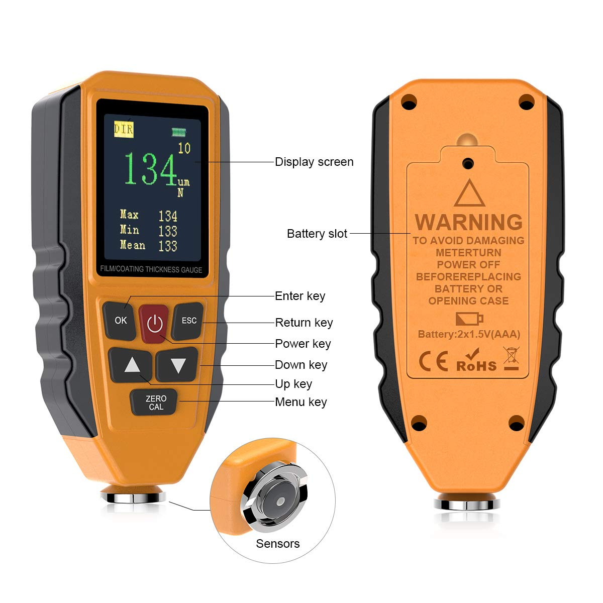 Data Storage//Download ERAY Car Coating Paint Thickness Gauge Meter Digital Handheld with Backlight LCD Display Green Tool Box and Batteries Included