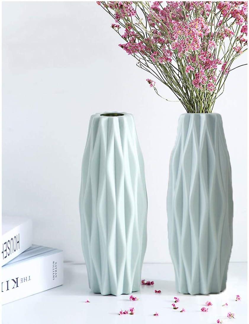 WELLIN 2PCS Unbreakable Vase for Flowers, Ceramic Look Plastic Vase for Home Decor, Living Room, Table (Rhombus Blue)