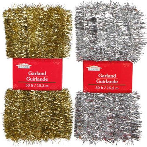 (Christmas Decor - Silver & Gold Tinsel Garlands, 50 ft. (Set of 2))