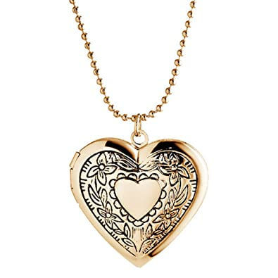 Sojewe Memory Locket Heart Necklace for Women Photo Mom Picture Charm Rose-Gold-tone VW0w5Hlzi