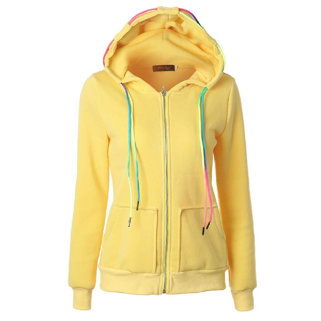 Fubotevic Womens Drawstring Zip Up Solid Casual Hoodies Sweatshirt Coat Jacket