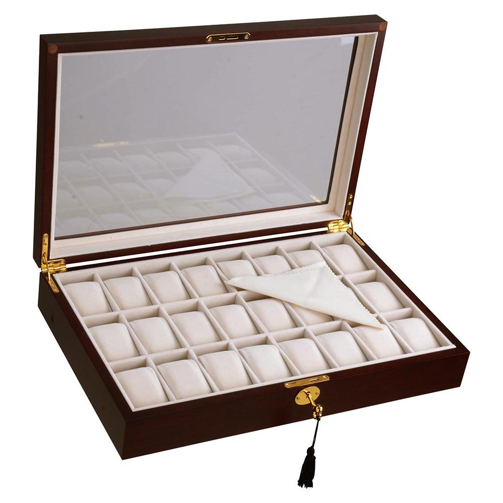Yescom 24 Slots Wooden Watch Display Case Glass Top Jewelry Pocket Watch Collection Storage Box Organizer Cherry Wood