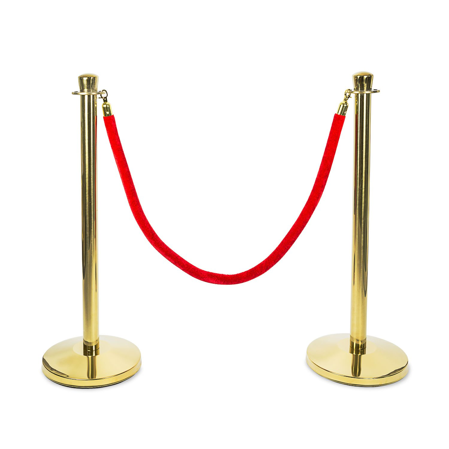 Source One Crowd Control Stanchion 38 Inches Tall Available in Gold & Silver Comes with Red Velvet Rope (1 Pack, Gold)