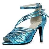 Minitoo, QJ6105, sandali da ballo dadonna in pelle, modello spuntato, ideali per salsa, tango, liscio e balli latini