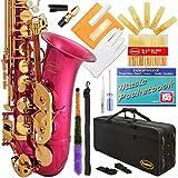 360-PK - Pink/Gold Keys Eb E Flat Alto Saxophone Sax Lazarro+11 Reeds,Music Pocketbook,Case,Care Kit - 24 Colors with Silver or Gold Keys