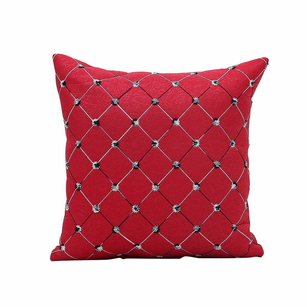 Viahwyt Cushion Cover Couch Geometric Checks Embroidered Square Cushion Covers 45cm x 45cm Pillow Case For Sofa Car Restaurant Home Decor Home Gifts (Black)