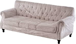 Swanna Plastic Clear Heavy-Duty Waterproof Sofa/Couch Cover - Protection Against Pets/Dog Clawing , Vinyl Sofa Slipover Furniture Protection for Storage and Moving (Sofa-1 Pack)